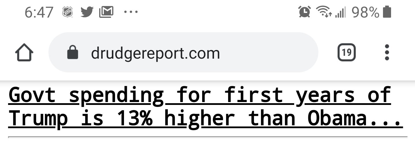 Drudge Headline Trump spending 13% higher than Obama's (3% adjusted for inflation)