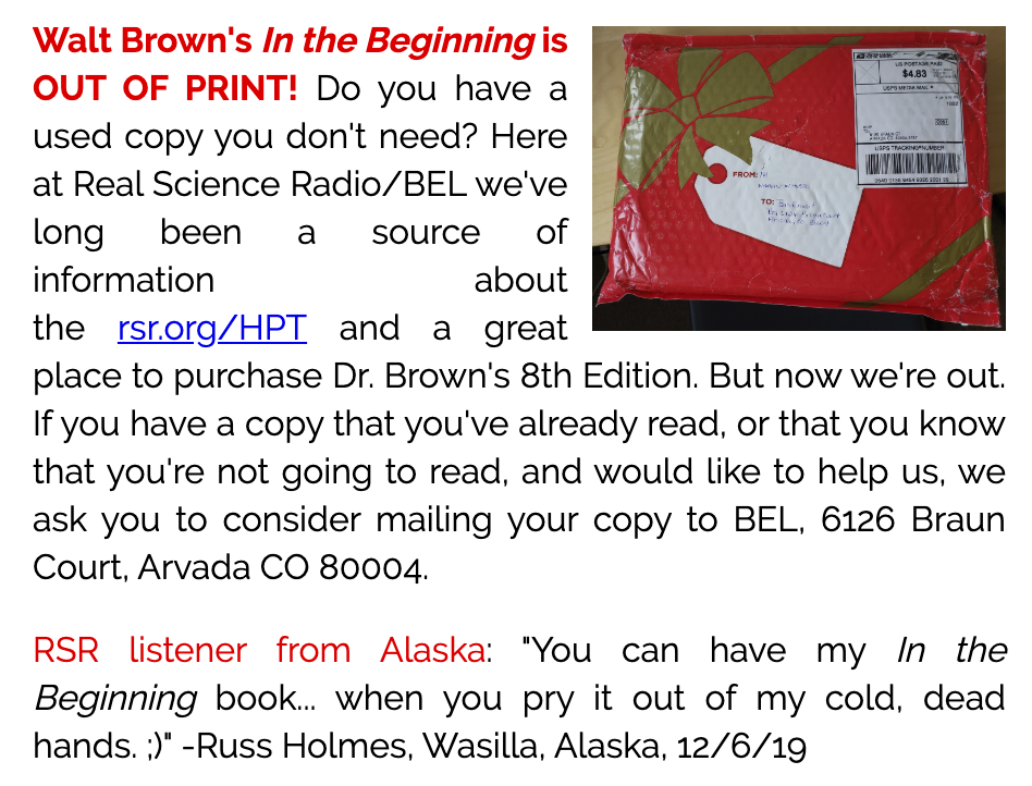 Out-of-print Walt Brown 8th edition, Alaska listener, pry it from my cold dead hand