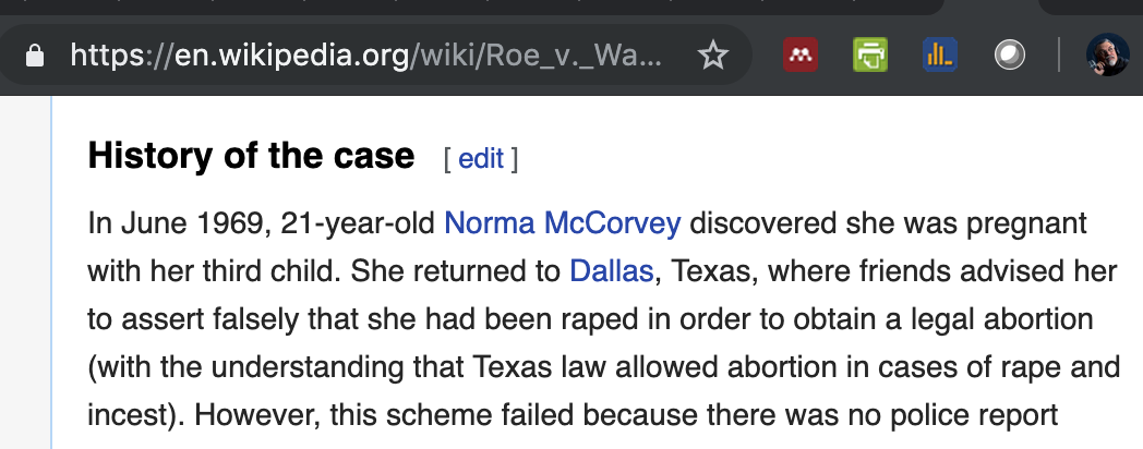 Wikipedia screenshot of its Roe v Wade article incorrectly referencing a Texas rape exception
